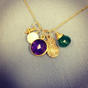 micro cross droplet, coin pearl, tiny gem amethyst, owl, green onyx just gems
