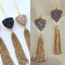 Trillion Drusy Tassel Set