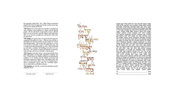 The Voice of Joy Ketubah- Hebrew and English texts side by side