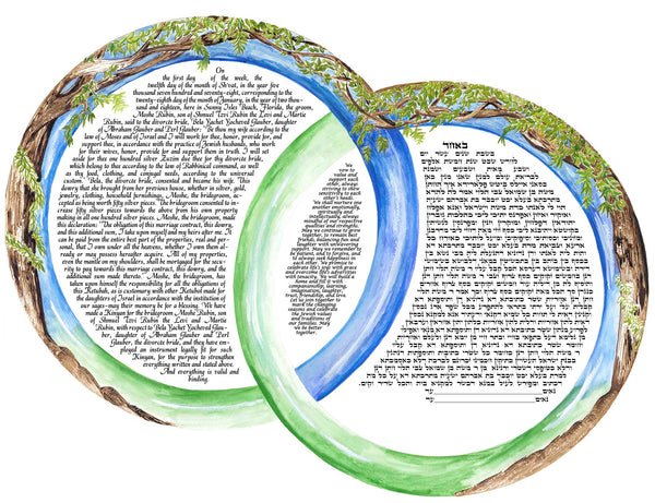 Trees in Two Rings ketubah