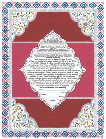 Navajo Ketubah was inspired by the Navajo pattern designs