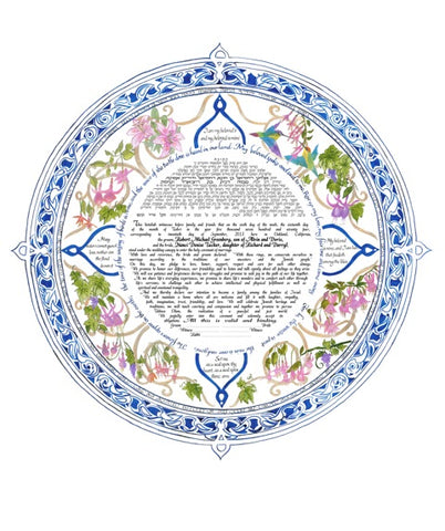 Hummingbirds and Fuchsia Flowers Ketubah