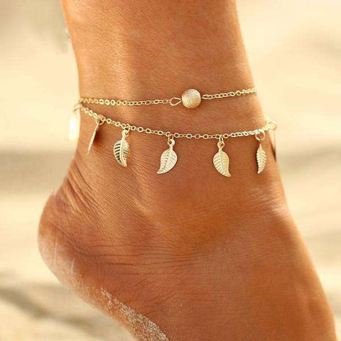 Bohemian Anklet Gold Leaves