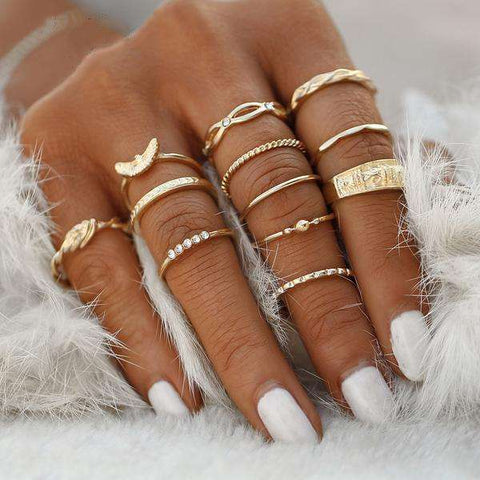 12 Piece Charm Knuckle Ring Set