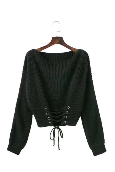 Lace Up Knitted Jumper