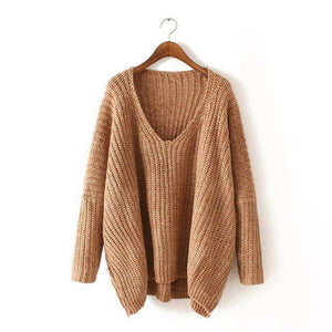 bohemian style chunky knitted pullover