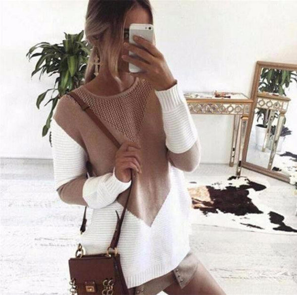 Loose Knitted Patchwork Pullover