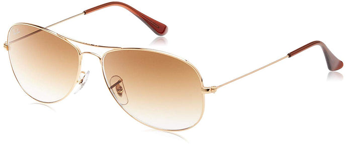 Ray-Ban Cockpit Rectangular Sunglasses, Gold Frame, 59 mm