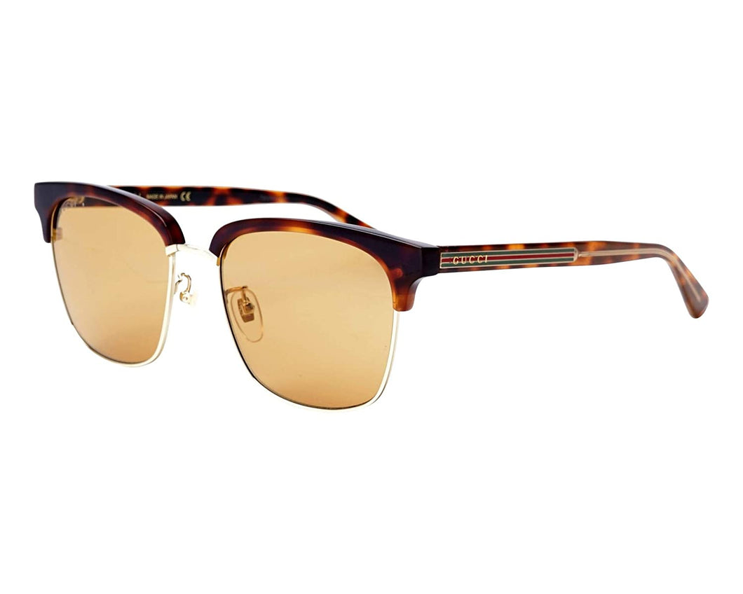 Gucci GG 0382S 004 Havana Gold Plastic Square Sunglasses Light Brown Lens