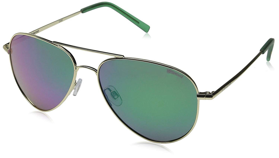 Polaroid Sunglasses PLD6012N Polarized Aviator Sunglasses, Gold/Green Mirror Polarized, 56 mm