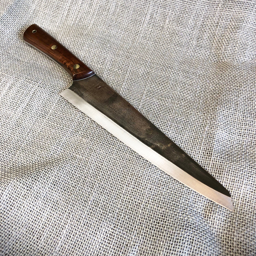 "9"" chefs knife with black walnut"