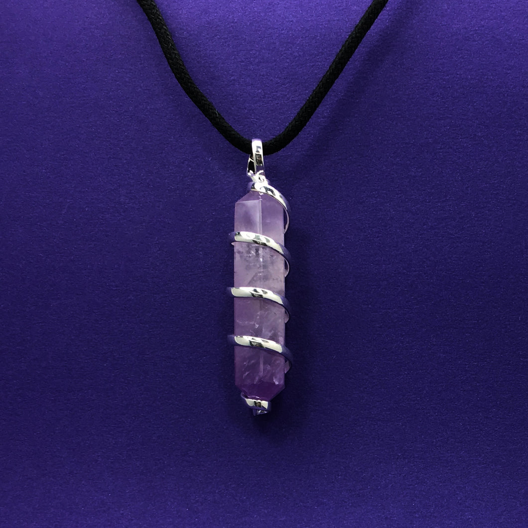 Amethyst Crystal Point Wrapped Pendant Necklace - Happy Soul Online