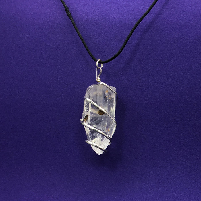 Clear Quartz Spiral Wrapped Crystal Necklace