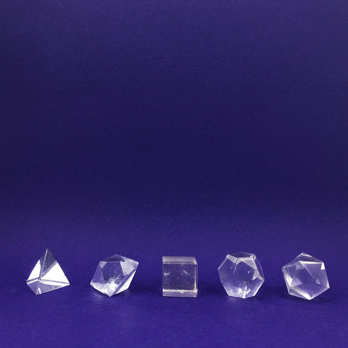 Clear Quartz Platonic Solid Crystal Sets