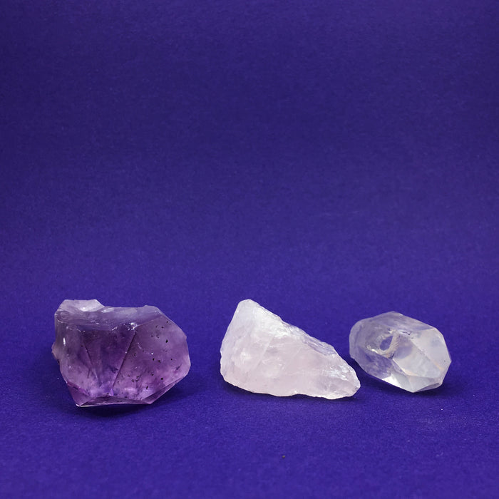 All Purpose Gem Water Crystal Set - Rose Quartz, Amethyst & Clear Quartz CLEARANCE