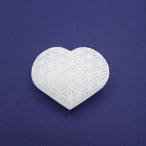 Selenite Heart - Etched Flower of Life