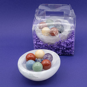 Chakra Spheres & Selenite Charging Bowl