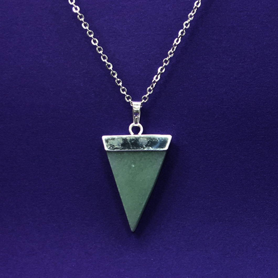 Green Aventurine Triangle Crystal Necklace Happy Soul Online
