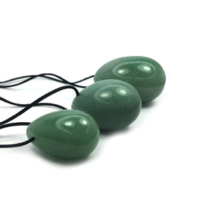 Green Aventurine Crystal Yoni Eggs (Set of 3) - Happy Soul Online