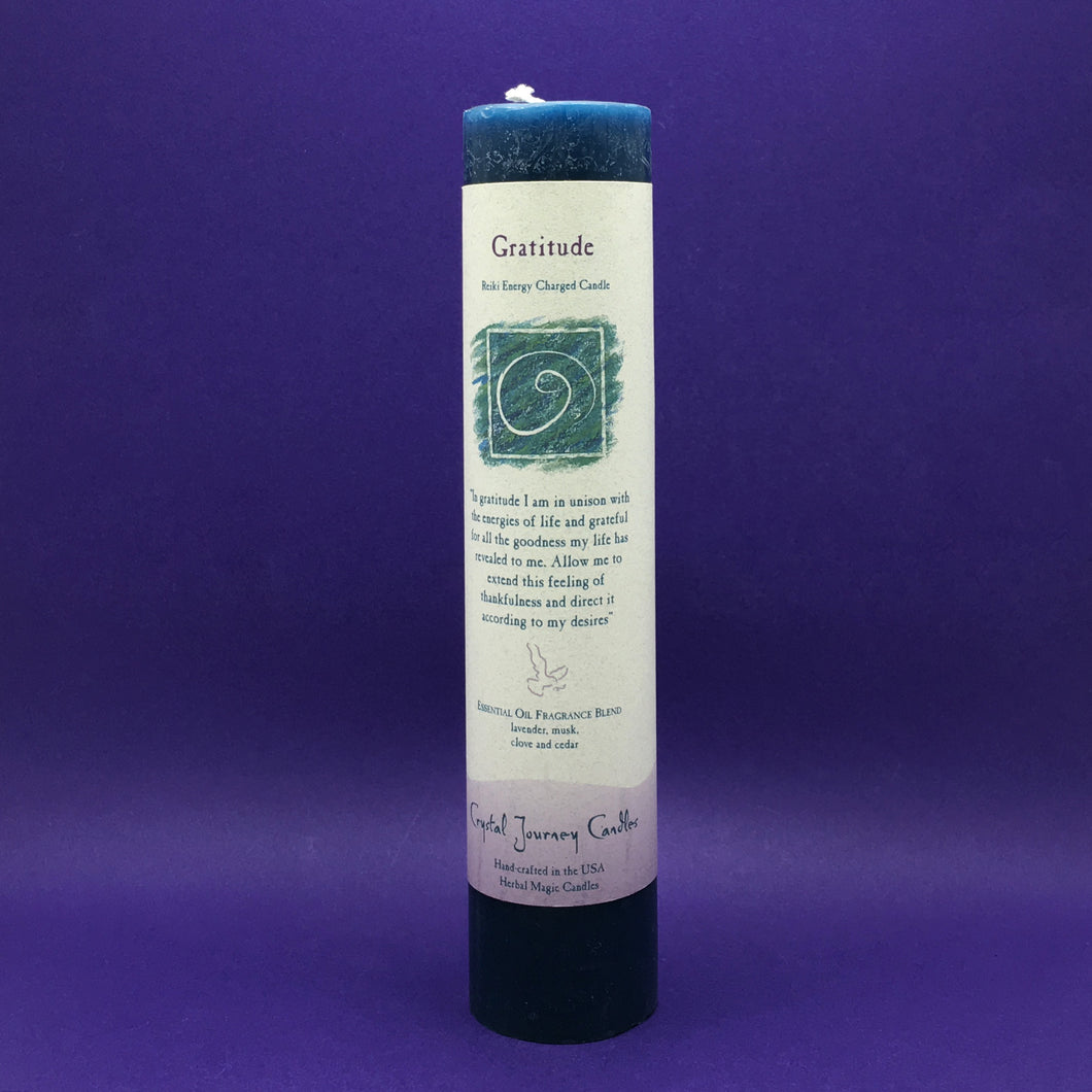 Pillar Candle - Gratitude - Reiki Energy Charged (Dark Blue) Happy Soul Online