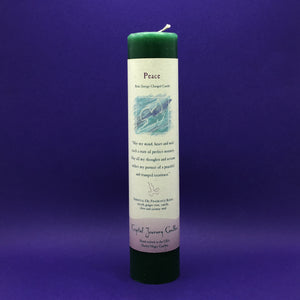 Pillar Candle - Peace - Reiki Energy Charged (Dark Green) - Happy Soul Online