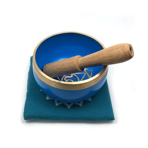 Tibetan Singing Bowl Gift Set - Blue (Throat Chakra) Happy Soul Online