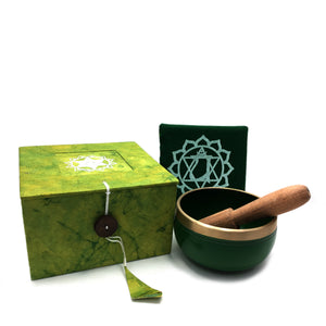Tibetan Singing Bowl Gift Set - Green (Heart Chakra) Happy Soul Online