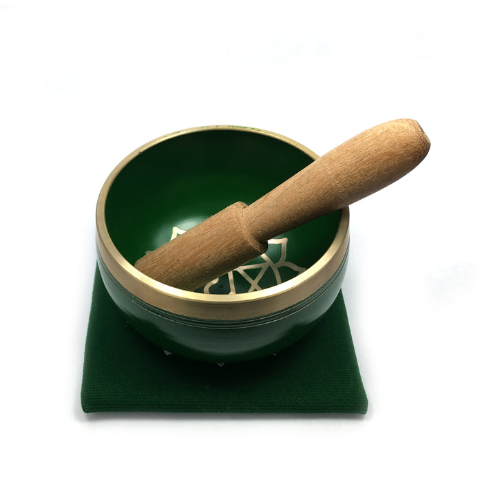 Tibetan Singing Bowl Gift Set - Green (Heart Chakra)