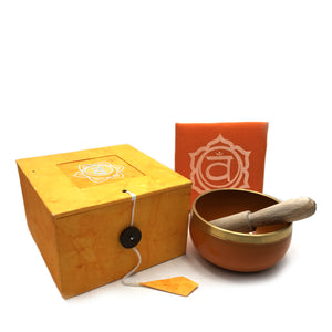 Tibetan Singing Bowl Gift Set - Orange (Sacral/Navel Chakra) Happy Soul Online