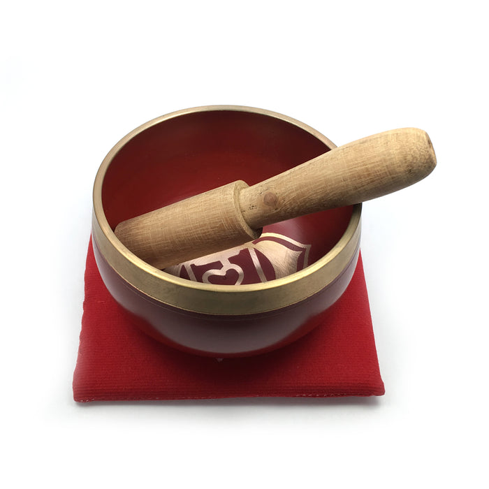 Tibetan Singing Bowl Gift Set - Red (Root/Support Chakra)