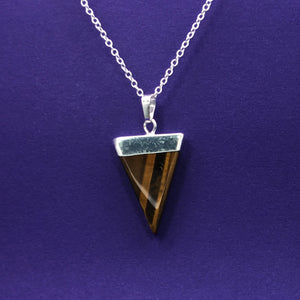 Tiger's Eye Triangle Crystal Necklace Happy Soul Online