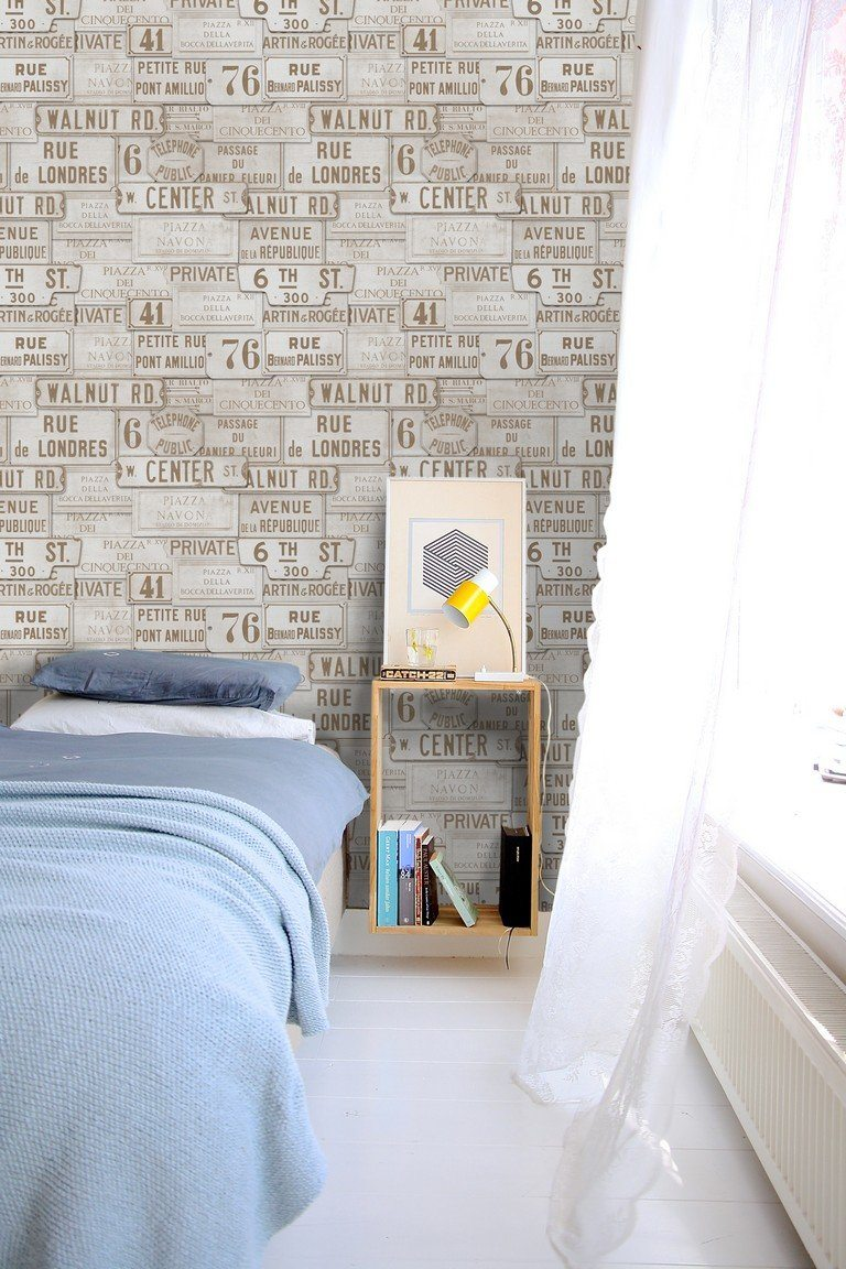Wallpaper - Vintage Signs Taupe