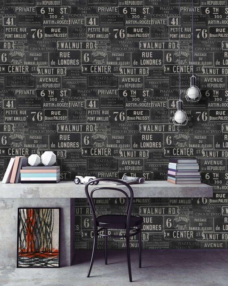 Wallpaper - Vintage Signs Anthracite