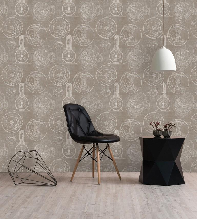 Wallpaper - Horlogerie Taupe