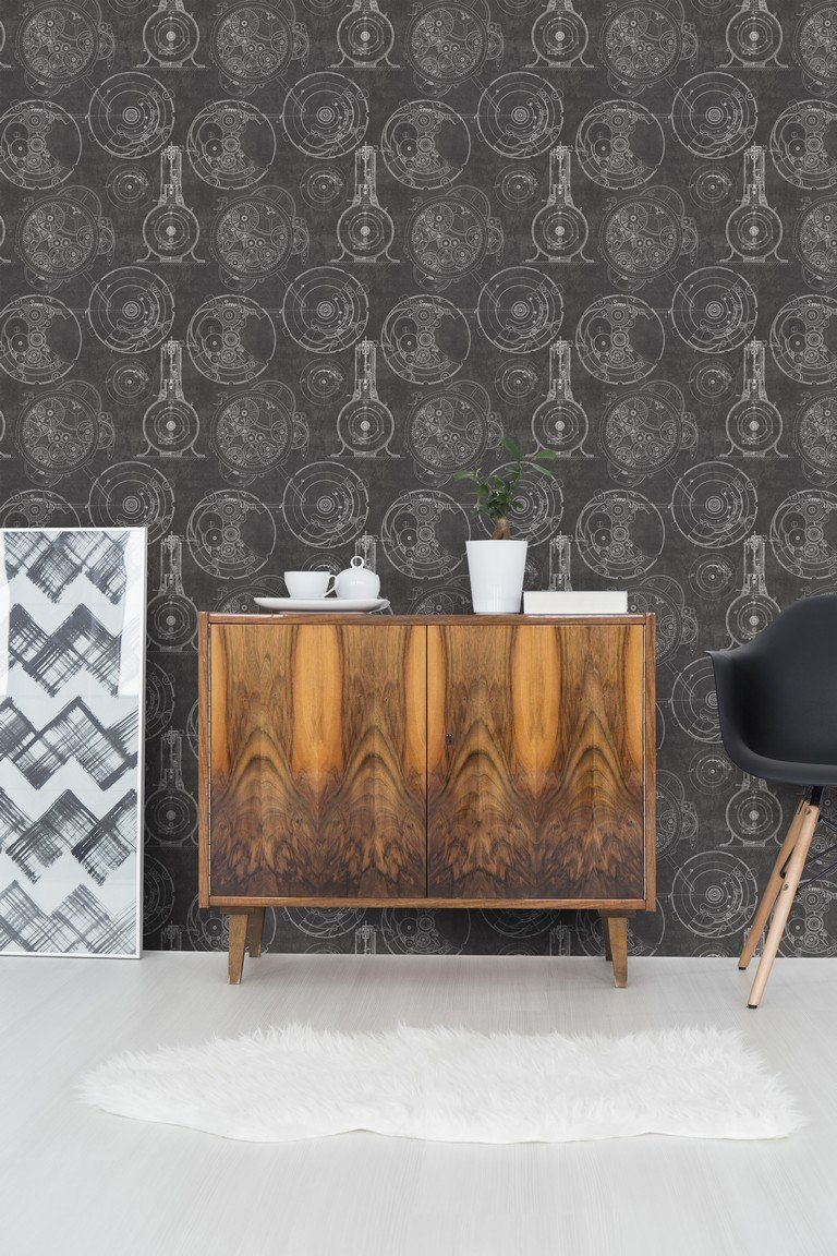 Wallpaper - Horlogerie Anthracite