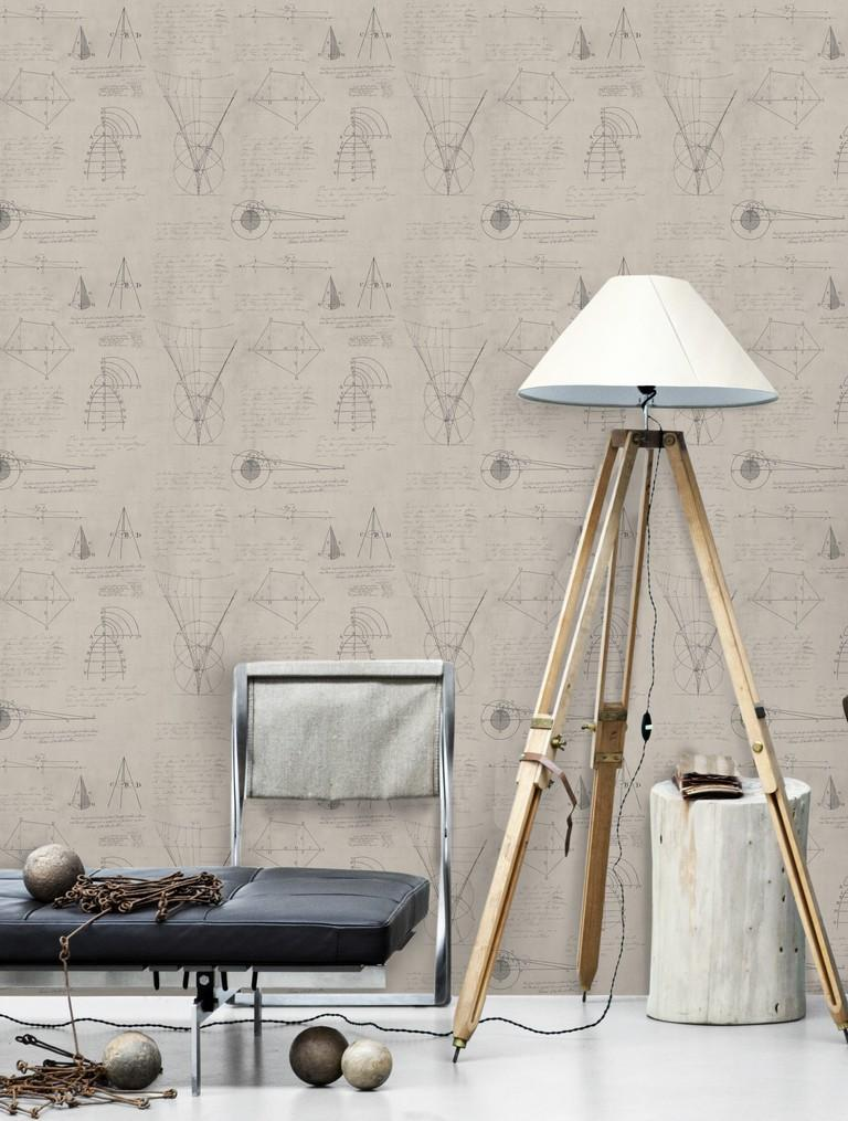 Wallpaper - Newton Geometry Taupe