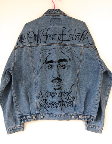 Giacca Denim Handmade Tupac tribute 90's