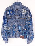 Giacca Jeans Roy Rogers Flowers Handmade