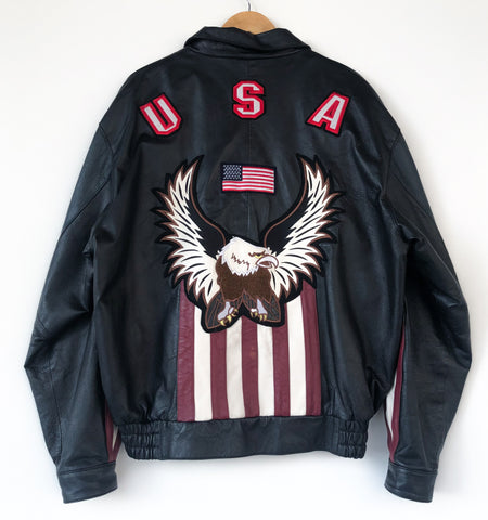 Giacca Pelle Usa 90's American Leather TgXL