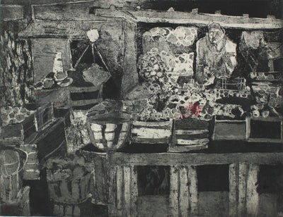 Abstracted Marketplace Scene<br>Etching, 1950-60s<br><br>#0186