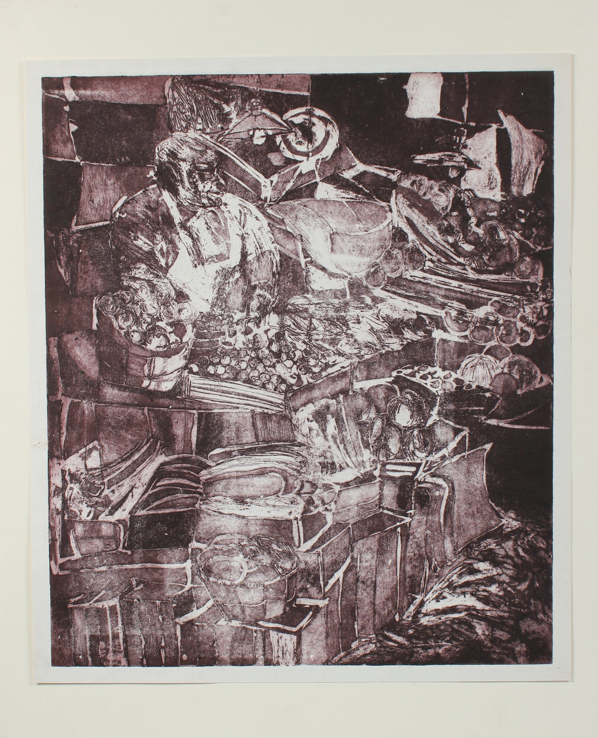 Marketplace Abstraction<br>Etching, 1960s<br><br>#0189