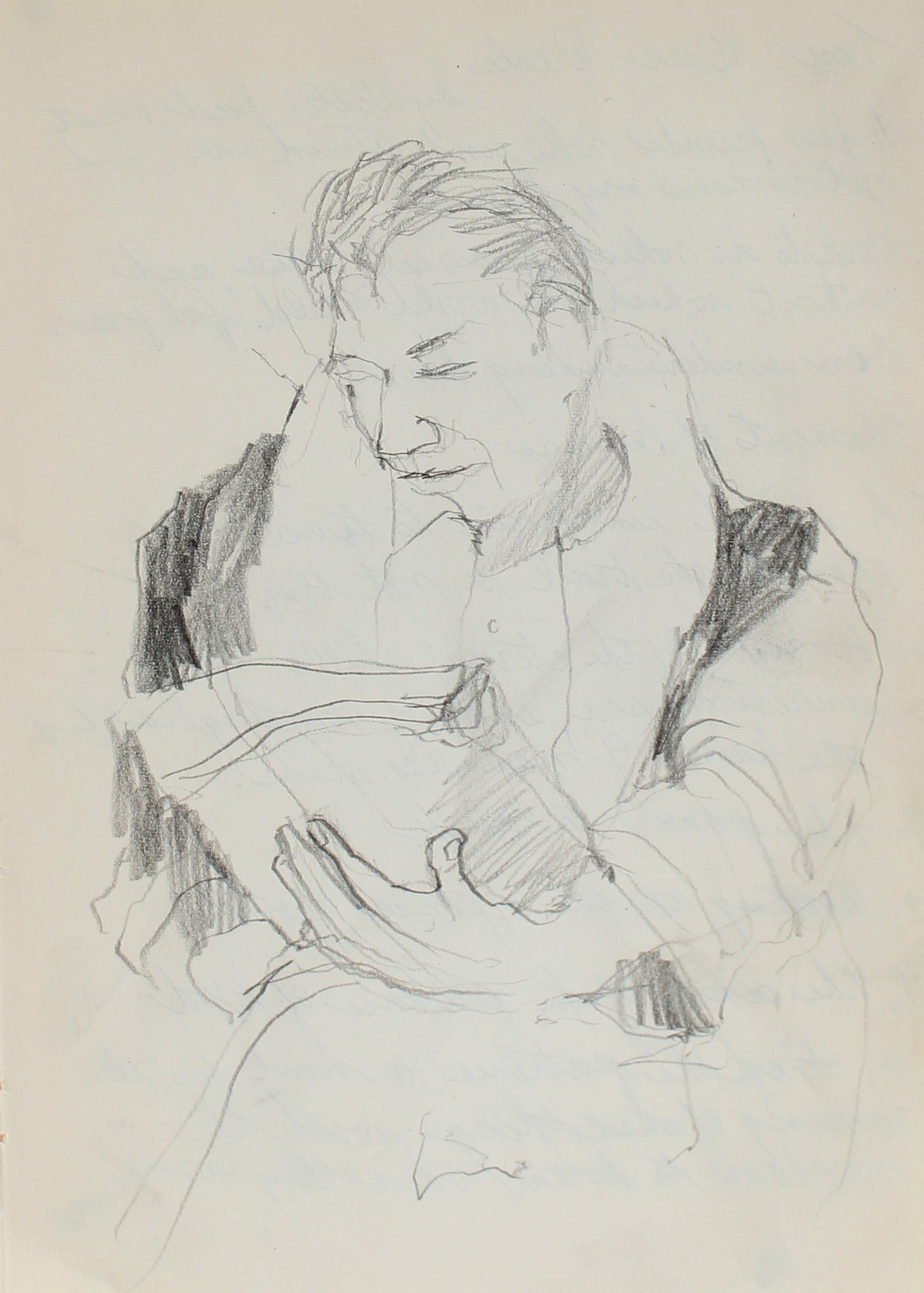 Man Reading<br>1950-60s Graphite<br><Br>#0243