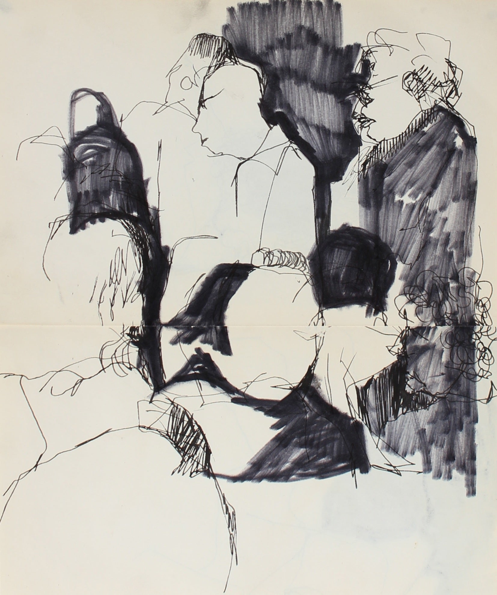 Shadowy Monochromatic Figures<br>1950-60s, Ink on Paper<br><br>#0254