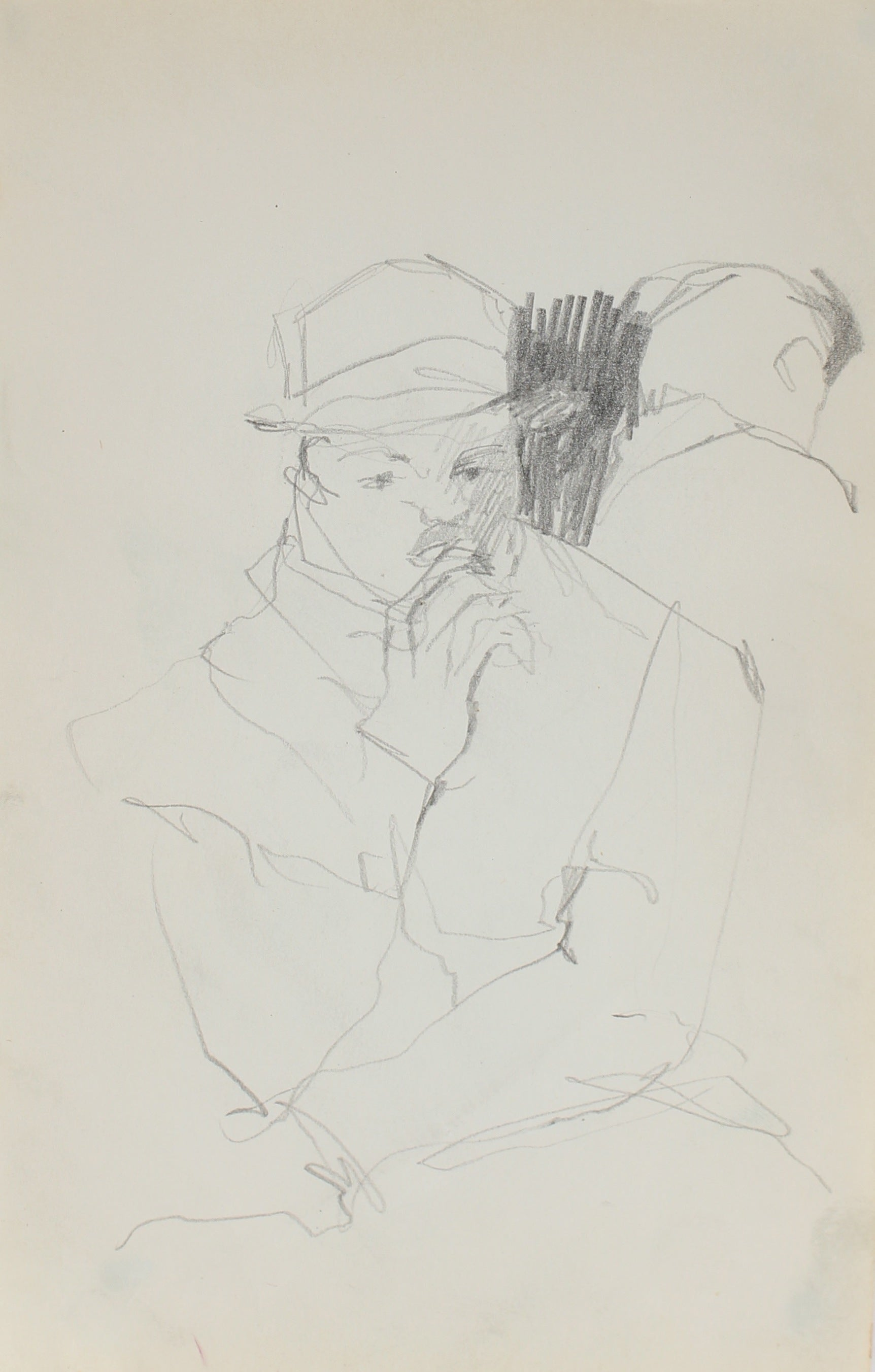 Modernist Sketch of a Man<br>Graphite, 1950-60s<br><br>#0260