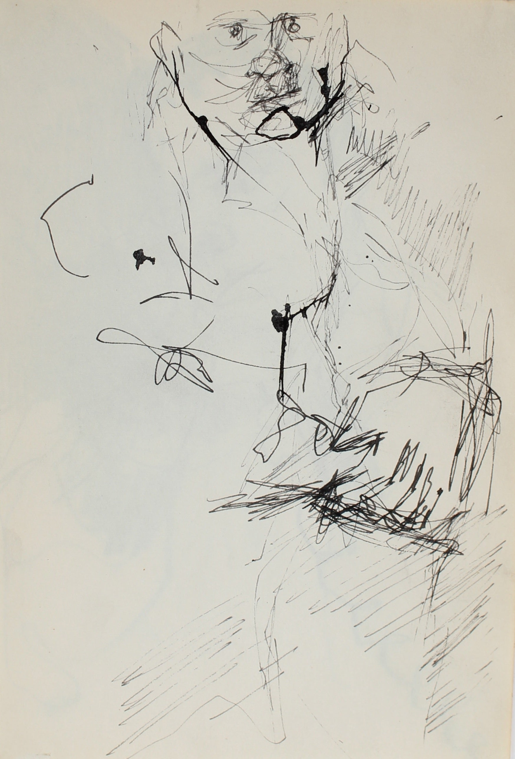 Modernist Figure Sketch<br>Ink, 1950-60s<br><br>#0277