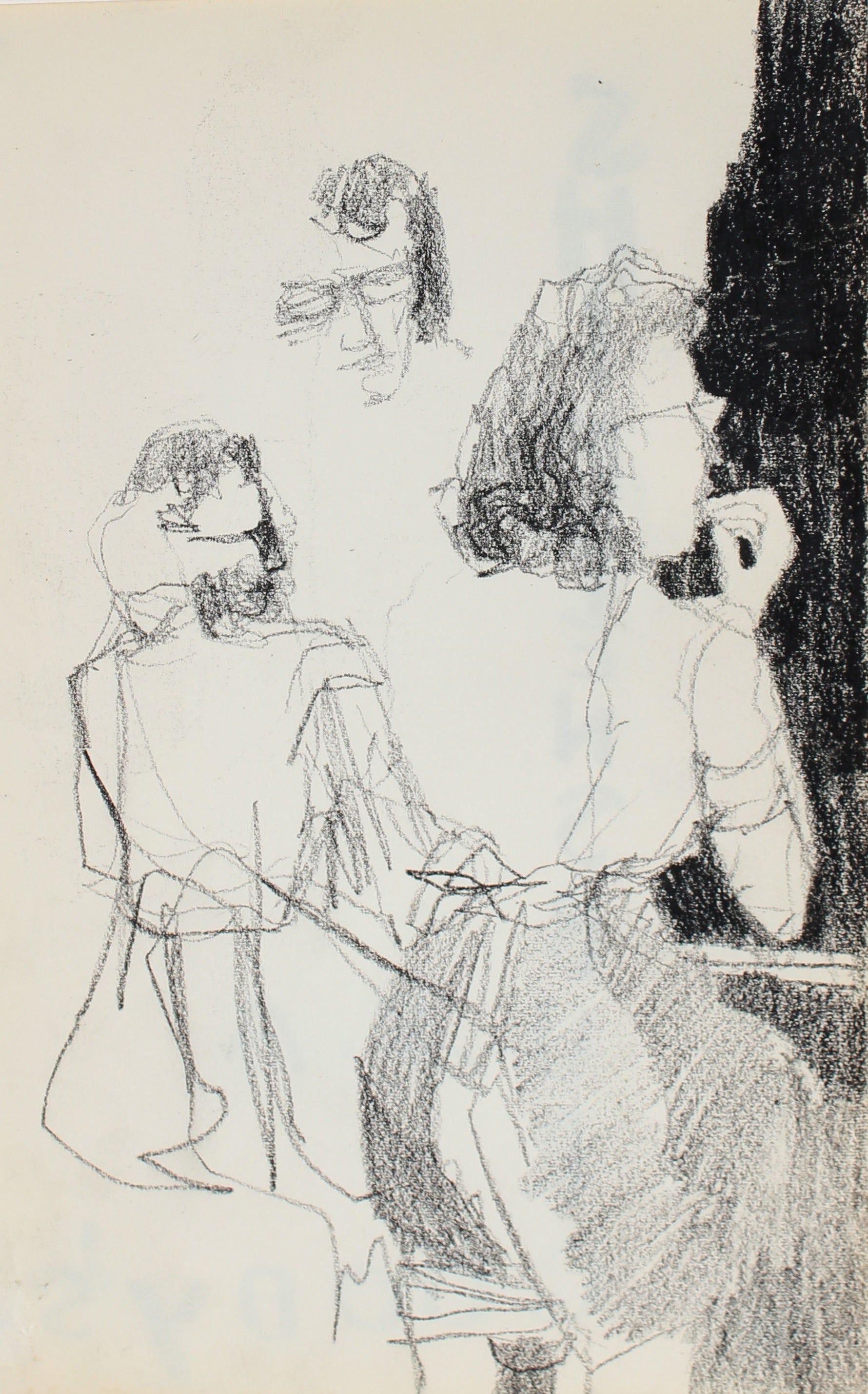 Petite Female Figurative Study<br>Charcoal, 1950-60s<br><br>#0294