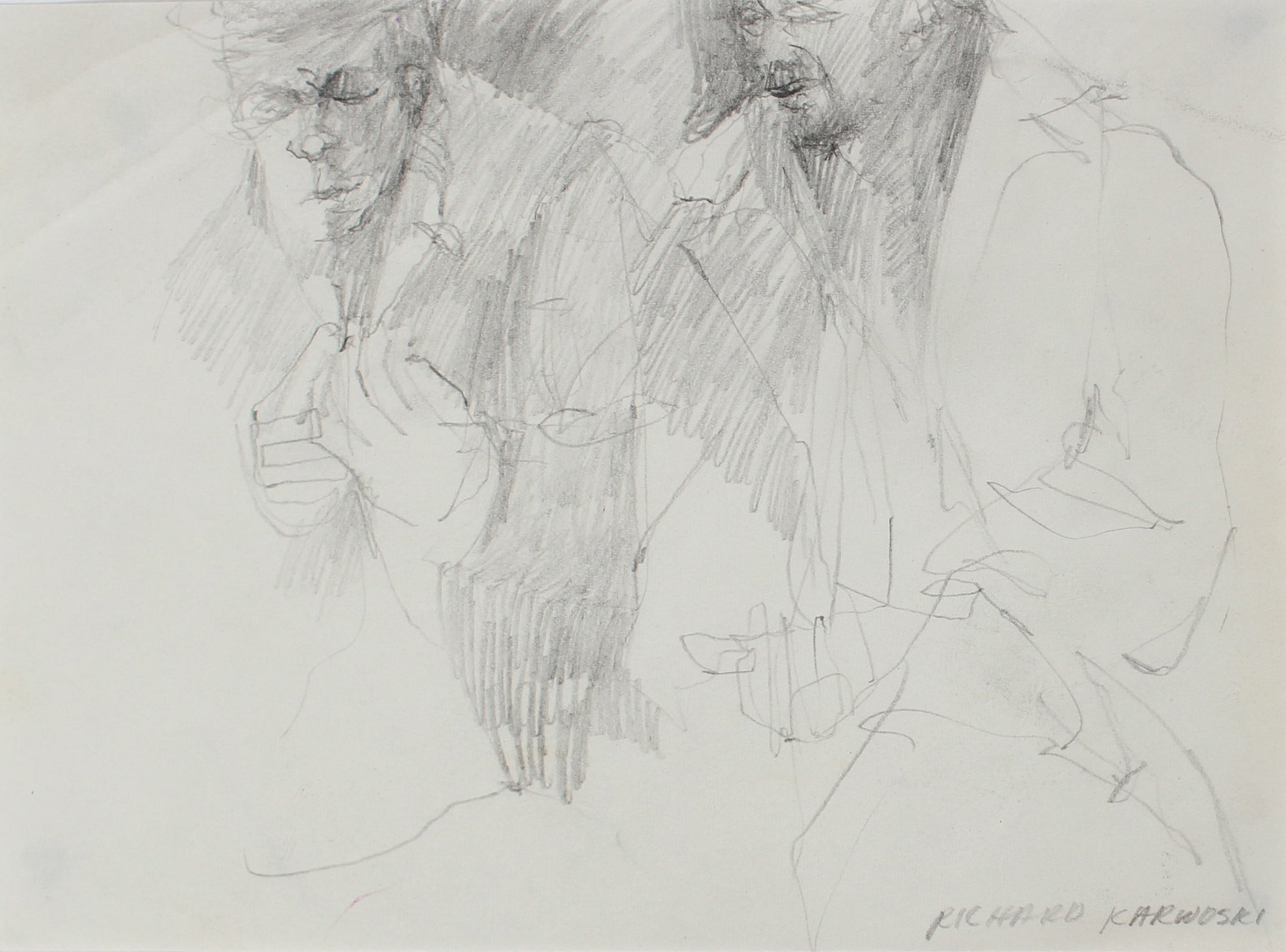 Modernist Figure Sketch<br>Ink, 1950-60s<br><br>#0313