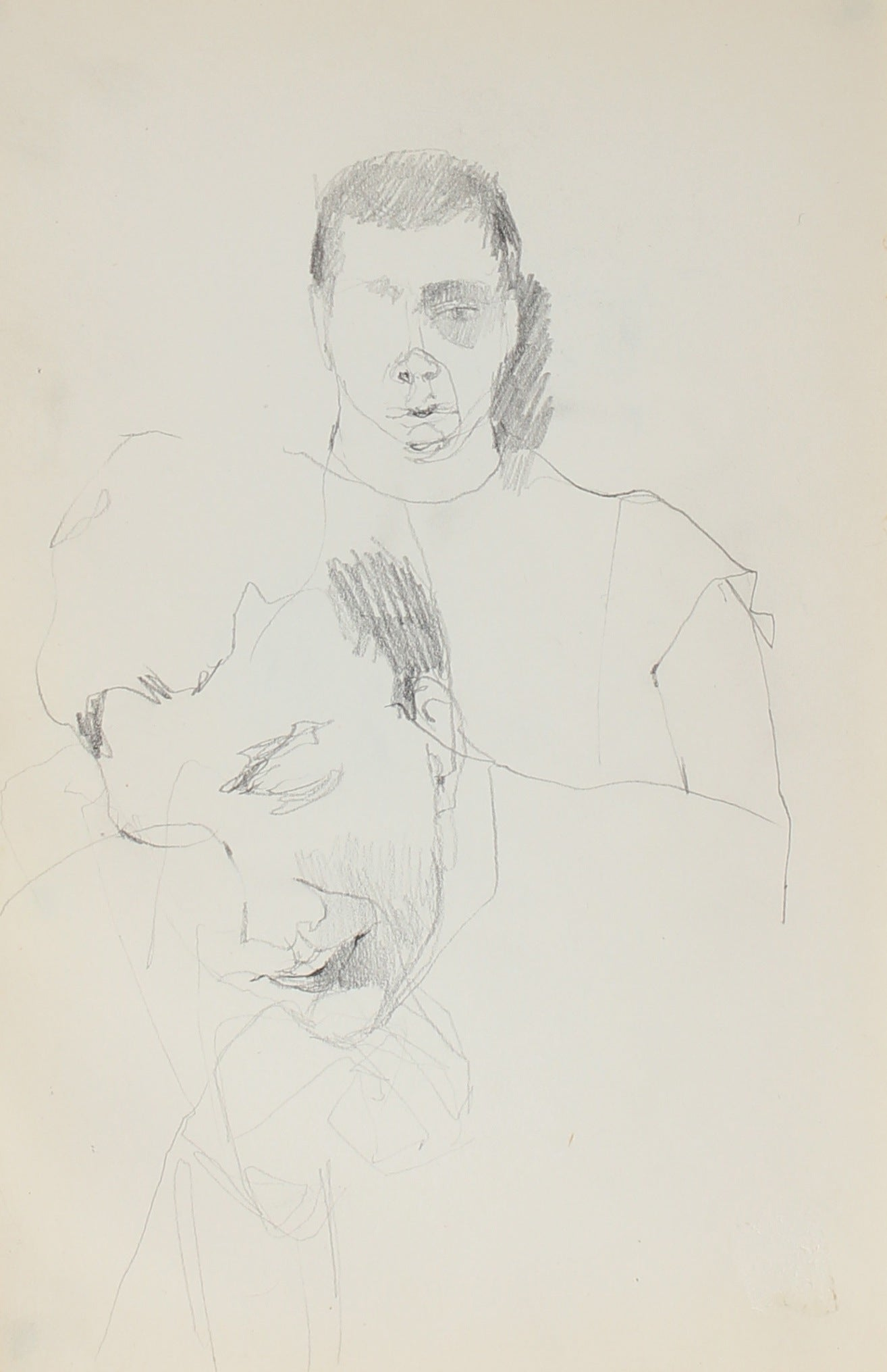 New York Monochromatic Figurative Study<br>1959 Charcoal<br><br>#0336
