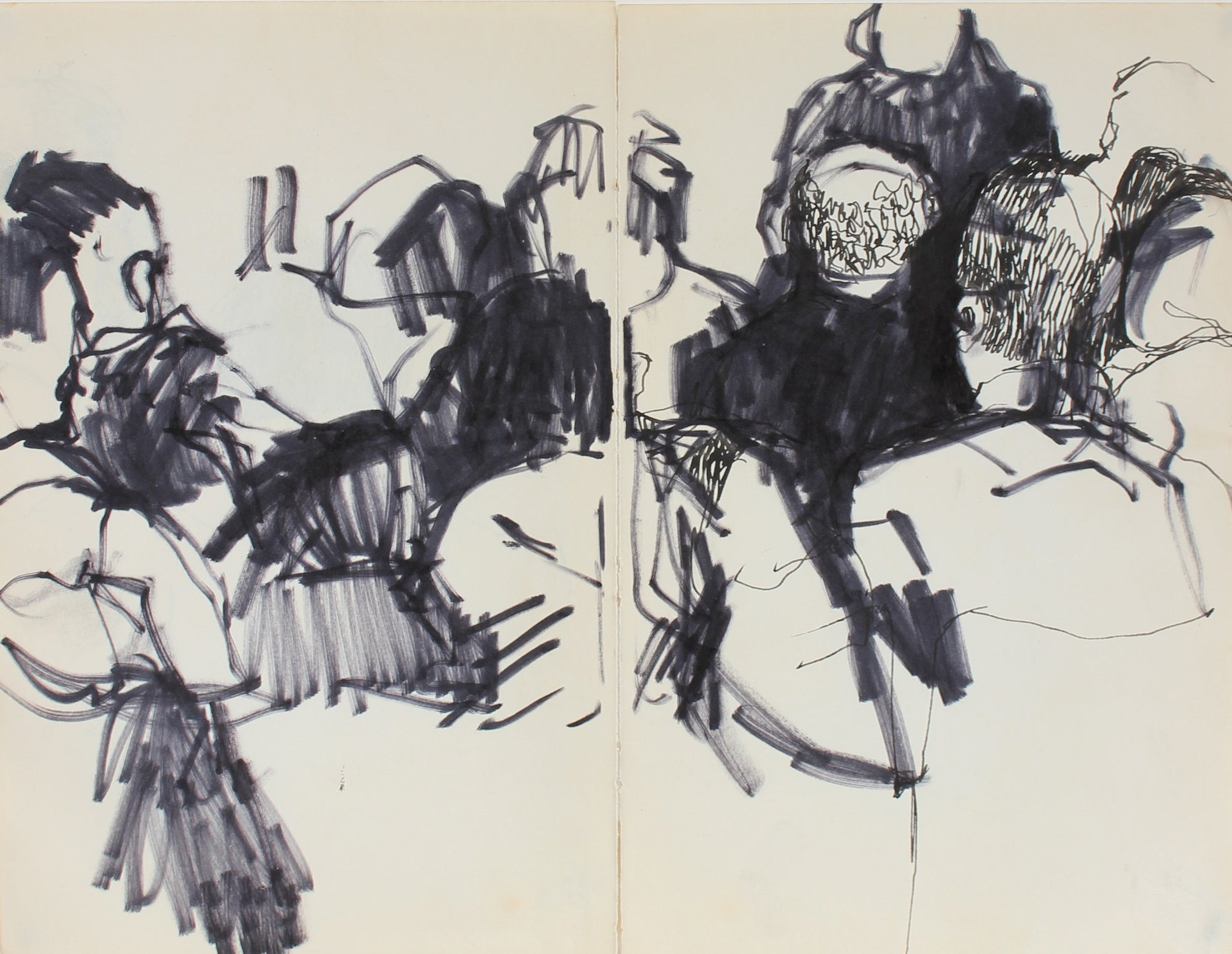 Figurative Scene on Two Pages<br>Ink, 1959<br><br>#0338