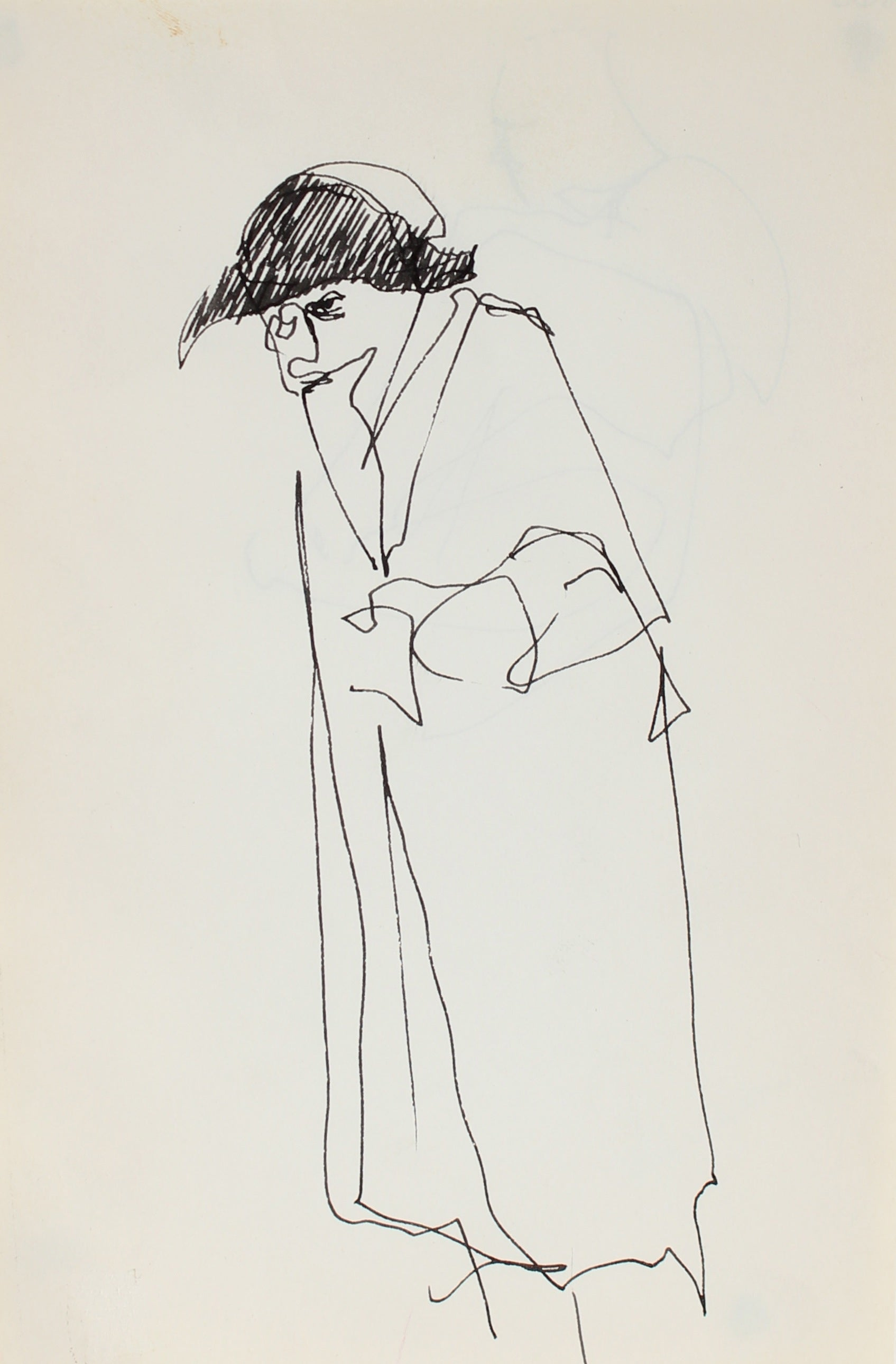 Minimal Figure with a Hat<br>Ink, 1959<br><br>#0365